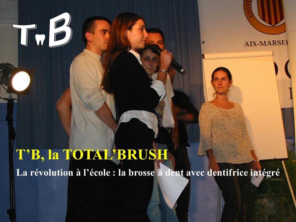 T B T'B, la TOTAL'BRUSH La révolution à l'école : la brosse à dent avec dentifrice intégré