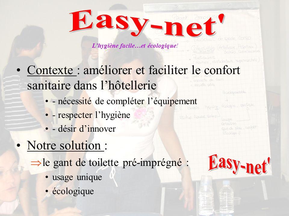 Easy-net L'hygiène facile…et écologique! Contexte : améliorer et faciliter le confort sanitaire dans l'hôtellerie.