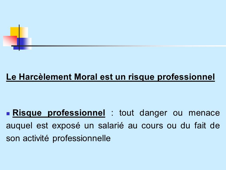 Le Harcèlement Moral est un risque professionnel