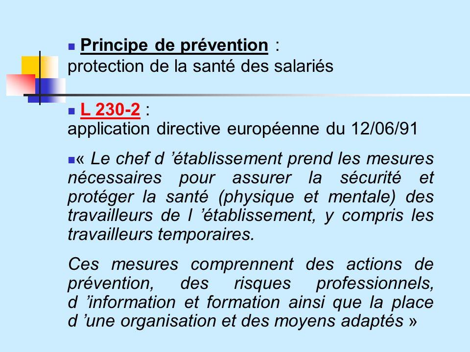 Principe de prévention : protection de la santé des salariés