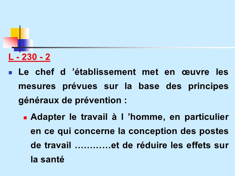 L - 230 - 2 Le chef d 'établissement met en œuvre les mesures prévues sur la base des principes généraux de prévention :