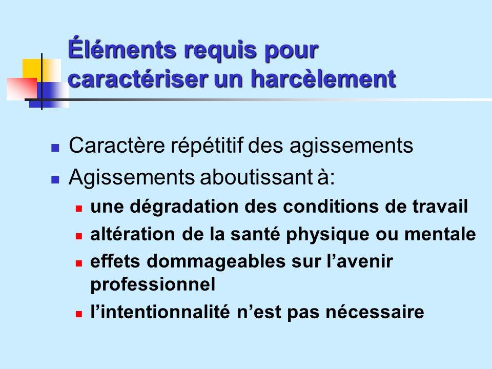 Éléments requis pour caractériser un harcèlement
