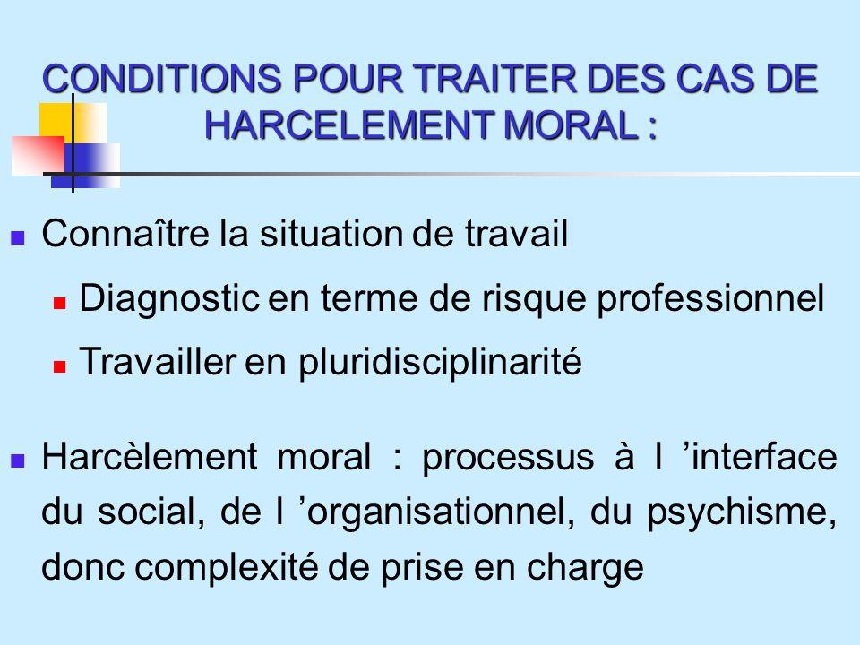 CONDITIONS POUR TRAITER DES CAS DE HARCELEMENT MORAL :