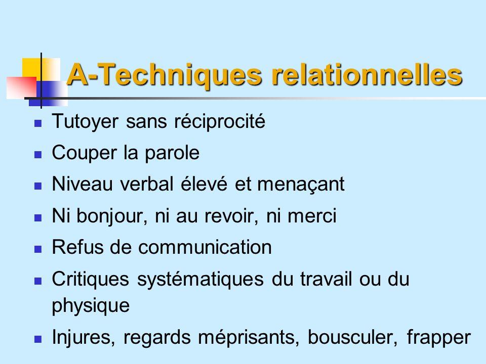 A-Techniques relationnelles