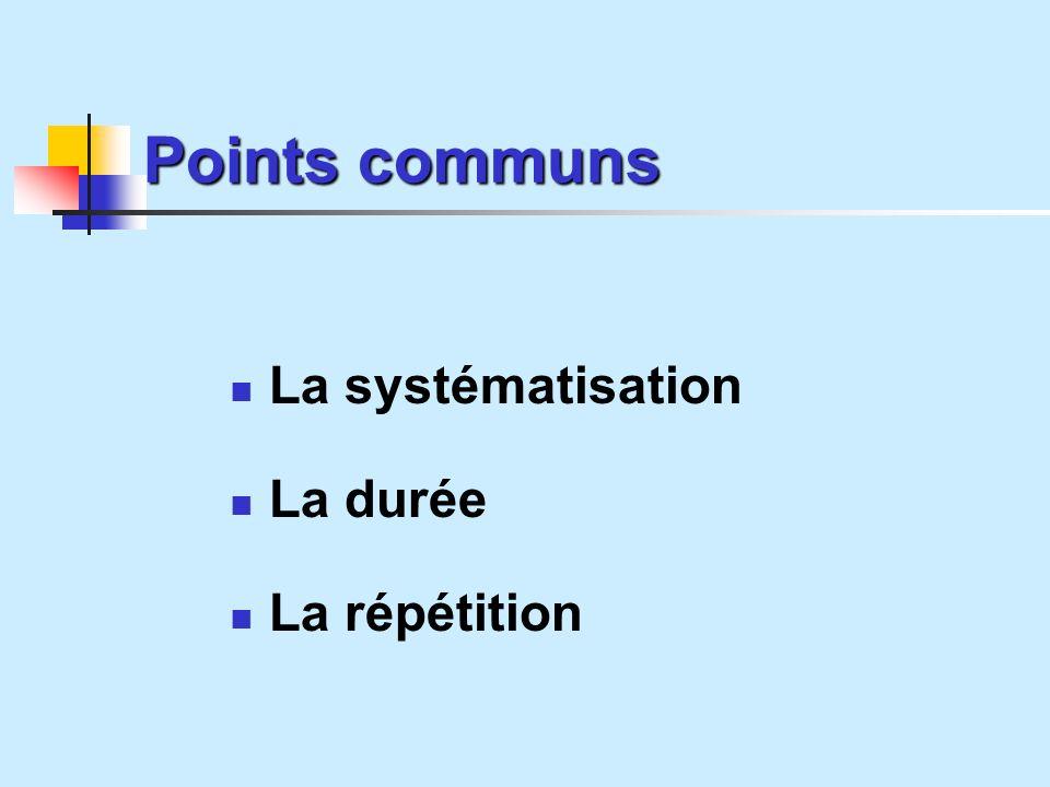 Points communs La systématisation La durée La répétition