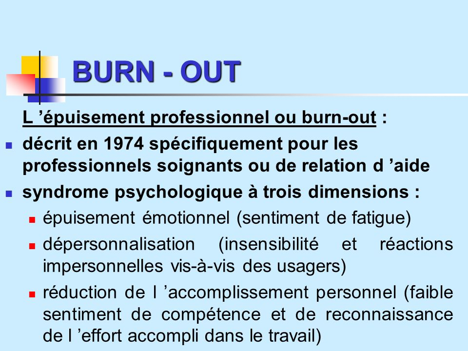 BURN - OUT L 'épuisement professionnel ou burn-out :