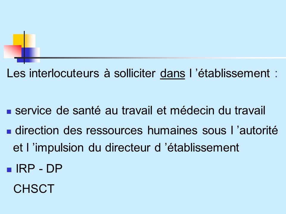 IRP - DP Les interlocuteurs à solliciter dans l 'établissement :