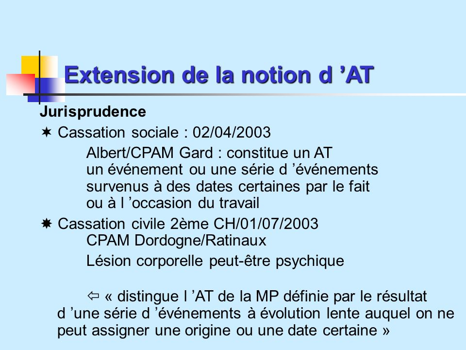 Extension de la notion d 'AT