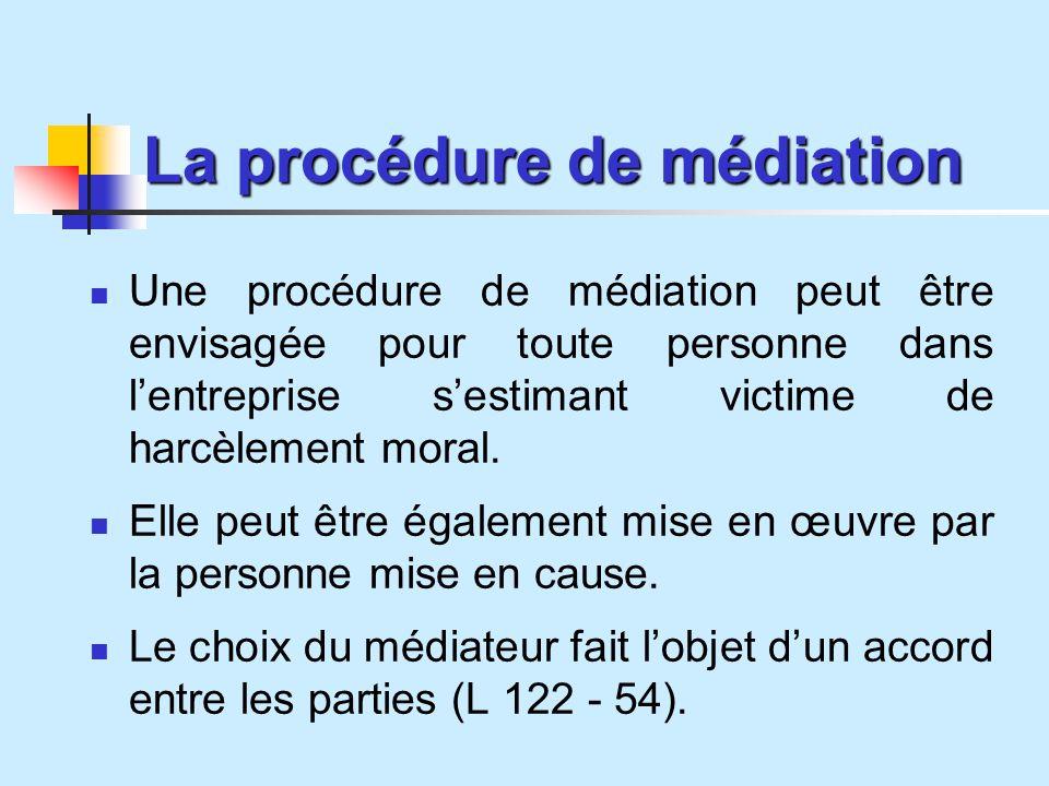 La procédure de médiation