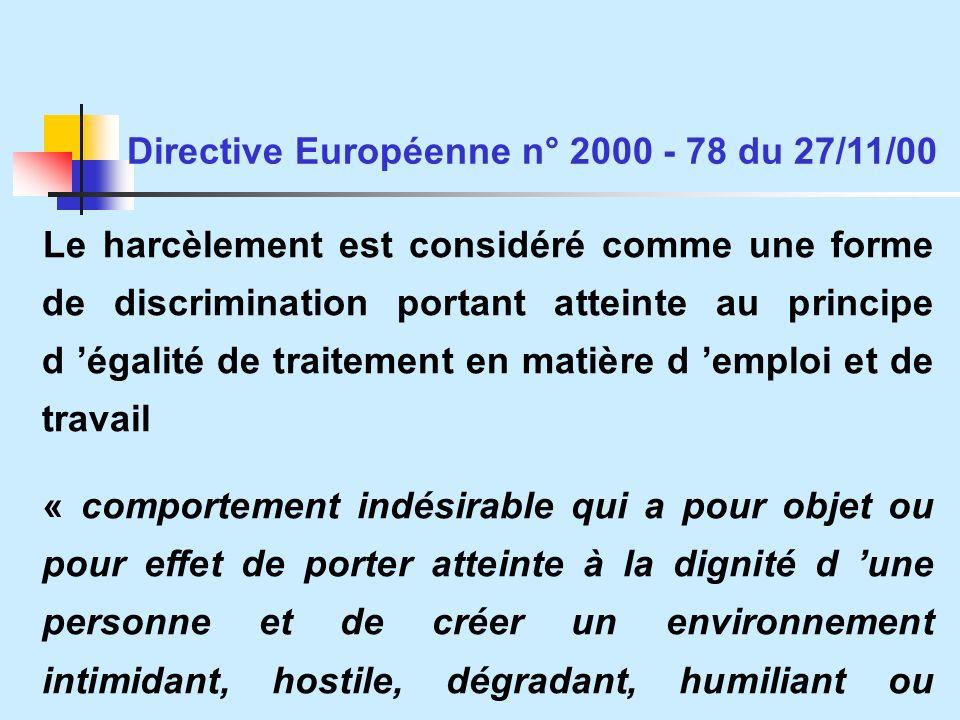 Directive Européenne n° 2000 - 78 du 27/11/00