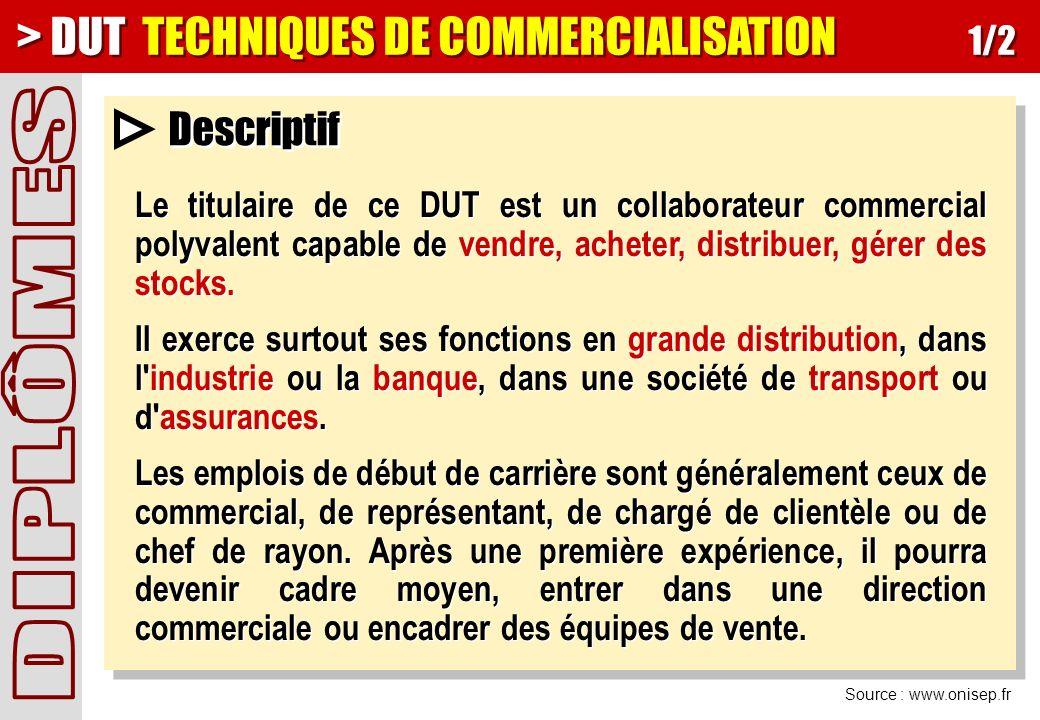 > DUT TECHNIQUES DE COMMERCIALISATION 1/2