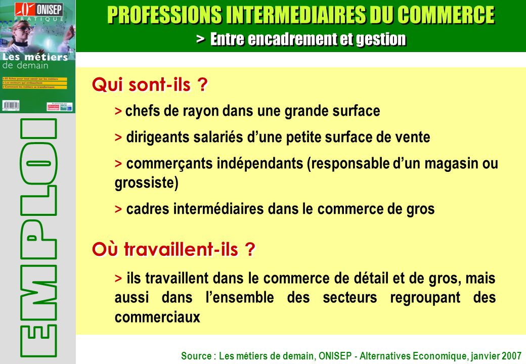 PROFESSIONS INTERMEDIAIRES DU COMMERCE