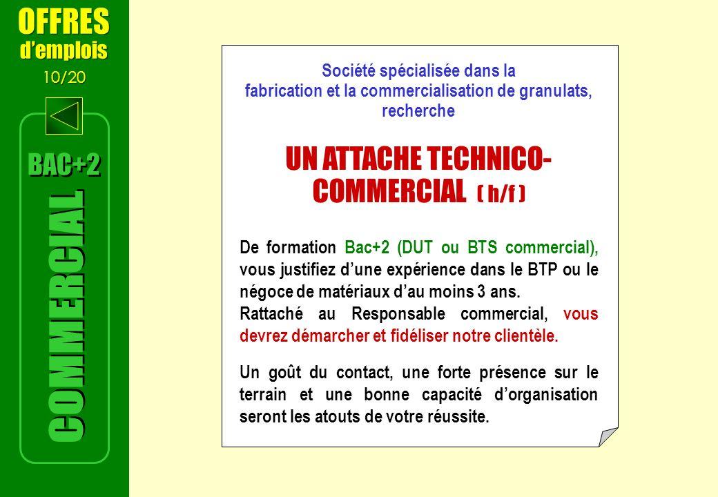 COMMERCIAL OFFRES UN ATTACHE TECHNICO-COMMERCIAL ( h/f ) BAC+2