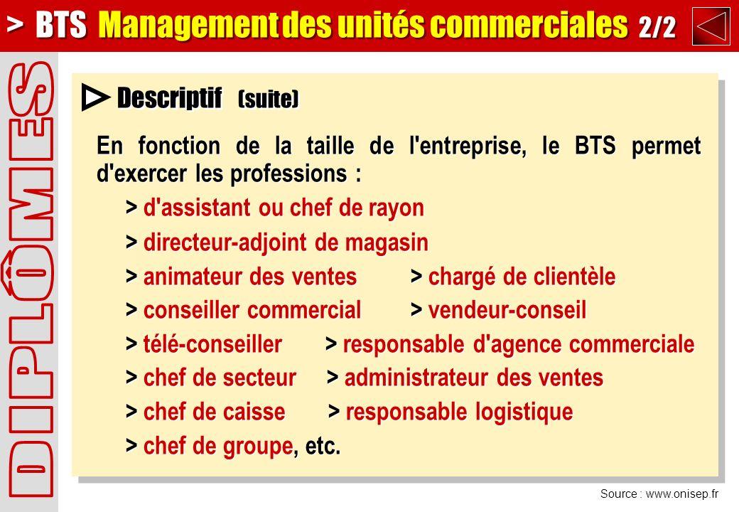 DIPLÔMES > BTS Management des unités commerciales 2/2