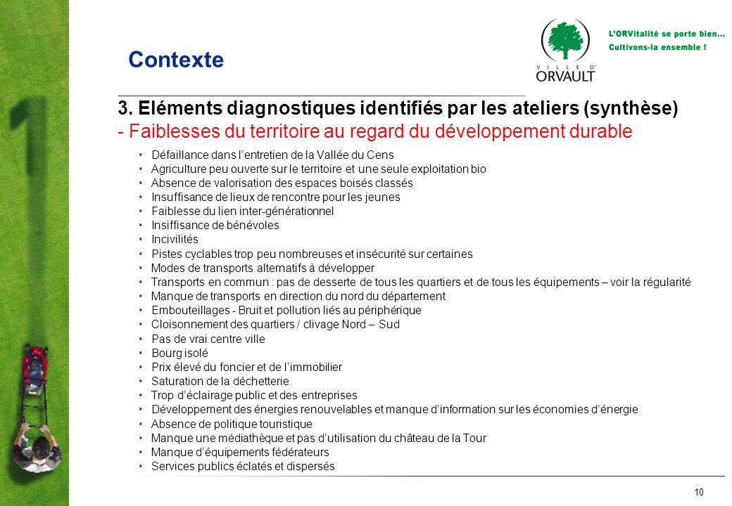 Contexte 3. Eléments diagnostiques identifiés par les ateliers (synthèse) - Faiblesses du territoire au regard du développement durable.