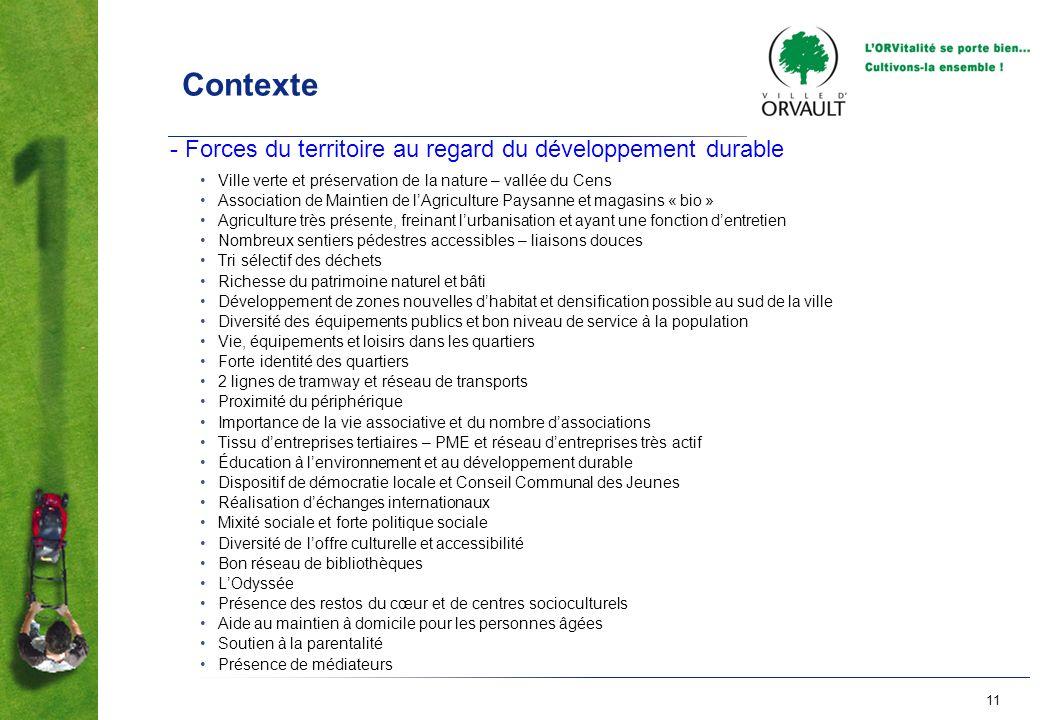 Contexte - Forces du territoire au regard du développement durable