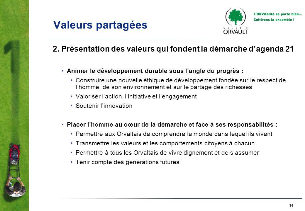 Valeurs partagées 2. Présentation des valeurs qui fondent la démarche d'agenda 21. Animer le développement durable sous l'angle du progrès :