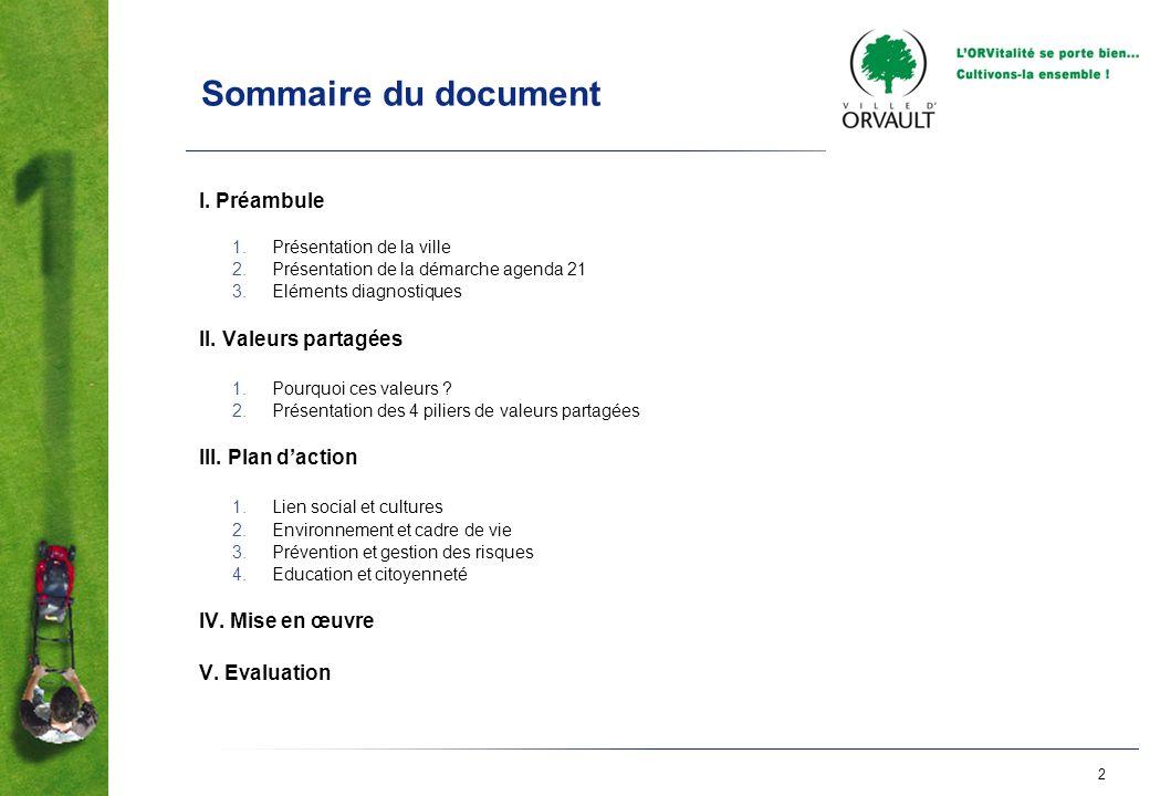 Sommaire du document I. Préambule II. Valeurs partagées