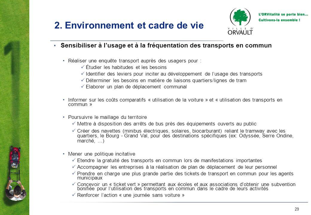 2. Environnement et cadre de vie