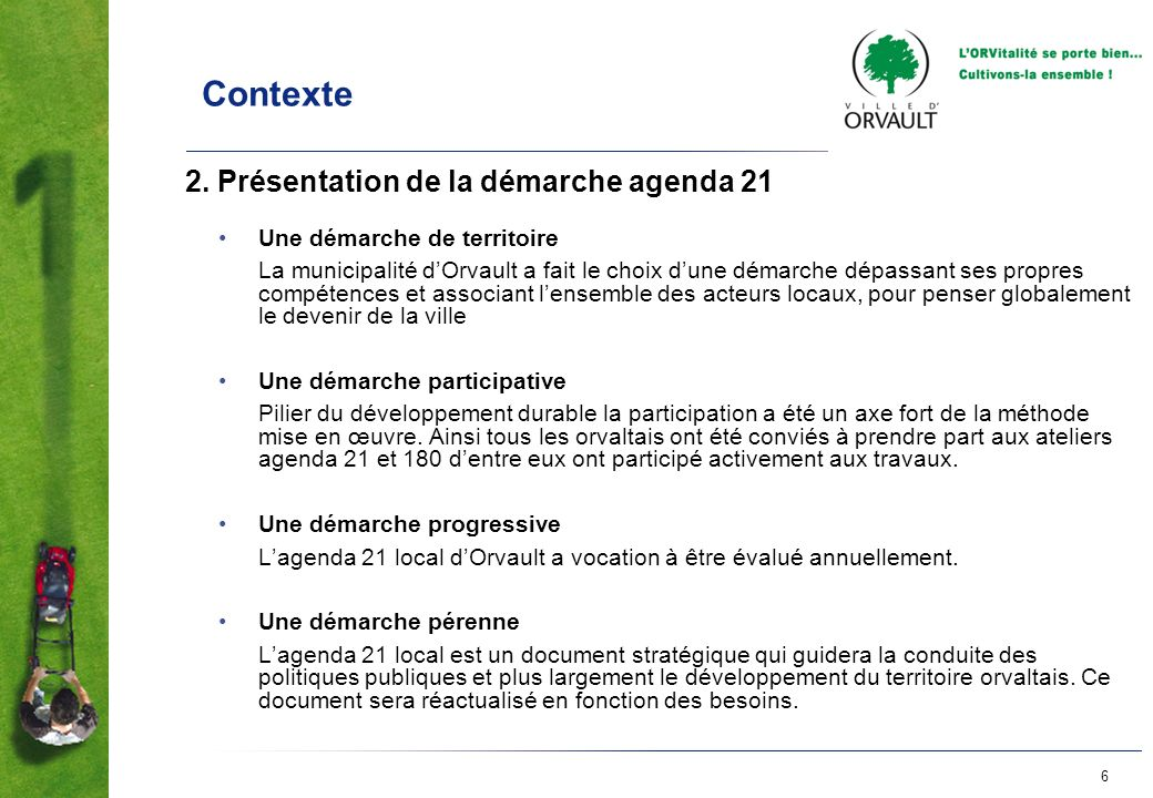 Contexte 2. Présentation de la démarche agenda 21