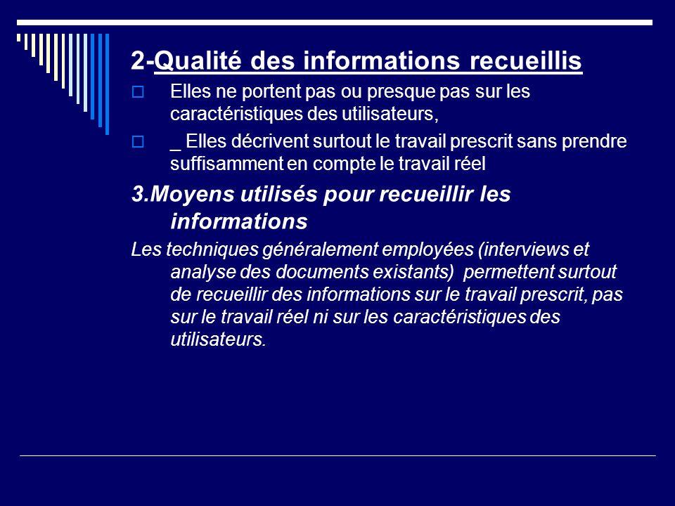 2-Qualité des informations recueillis