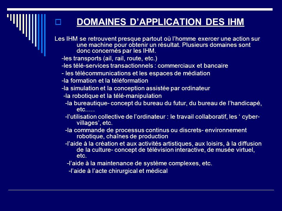 DOMAINES D'APPLICATION DES IHM