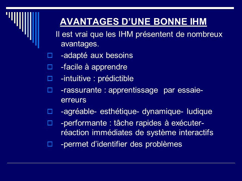 AVANTAGES D'UNE BONNE IHM