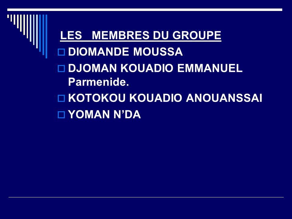 LES MEMBRES DU GROUPE DIOMANDE MOUSSA. DJOMAN KOUADIO EMMANUEL Parmenide. KOTOKOU KOUADIO ANOUANSSAI.