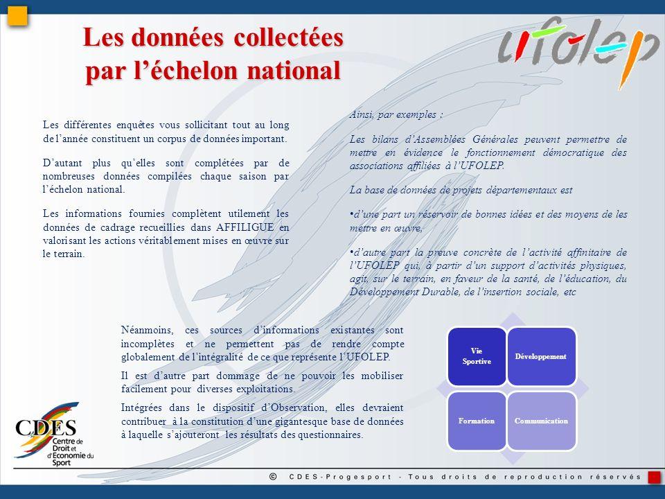 Les données collectées par l'échelon national