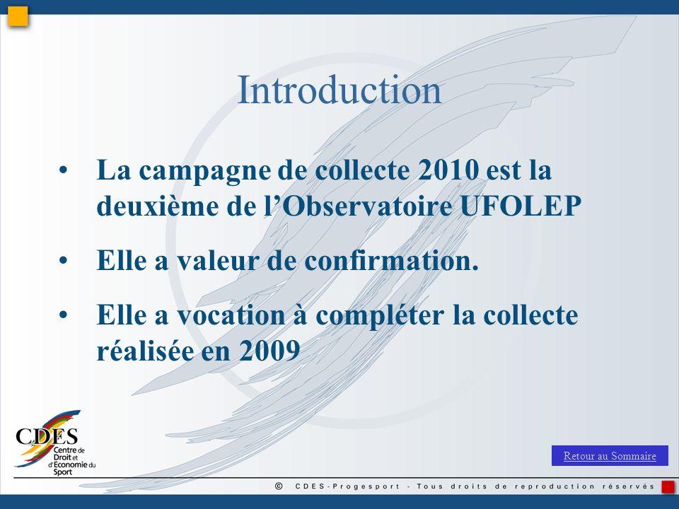 Introduction La campagne de collecte 2010 est la deuxième de l'Observatoire UFOLEP. Elle a valeur de confirmation.
