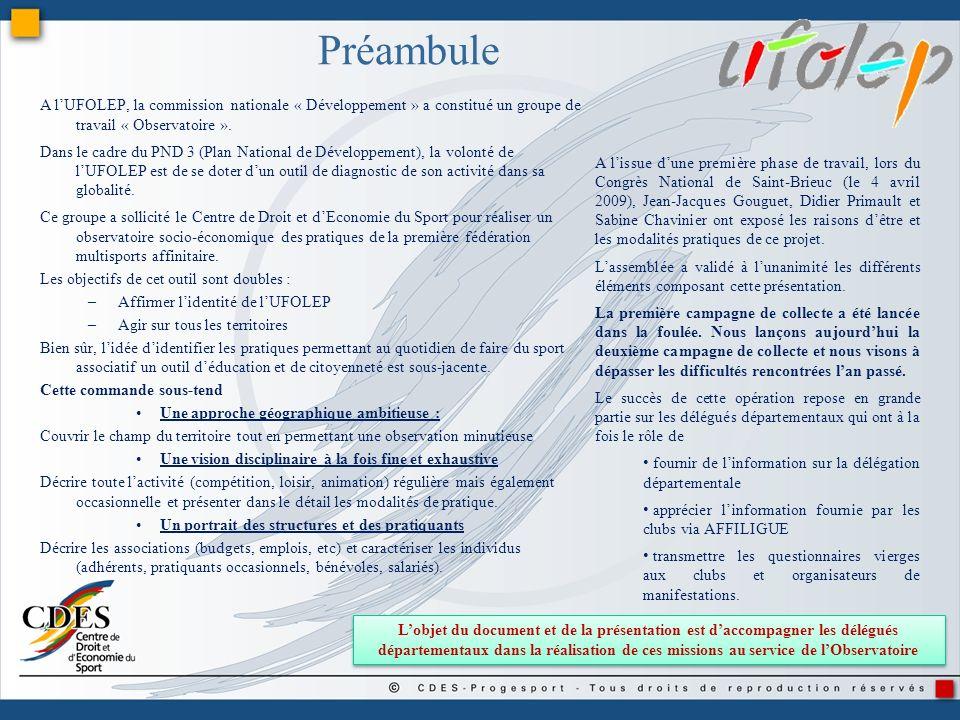 Préambule A l'UFOLEP, la commission nationale « Développement » a constitué un groupe de travail « Observatoire ».