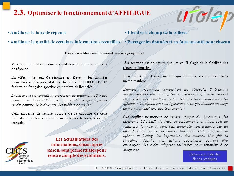2.3. Optimiser le fonctionnement d'AFFILIGUE