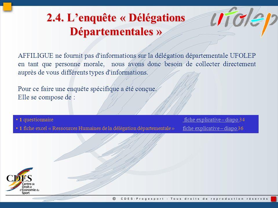 2.4. L'enquête « Délégations Départementales »