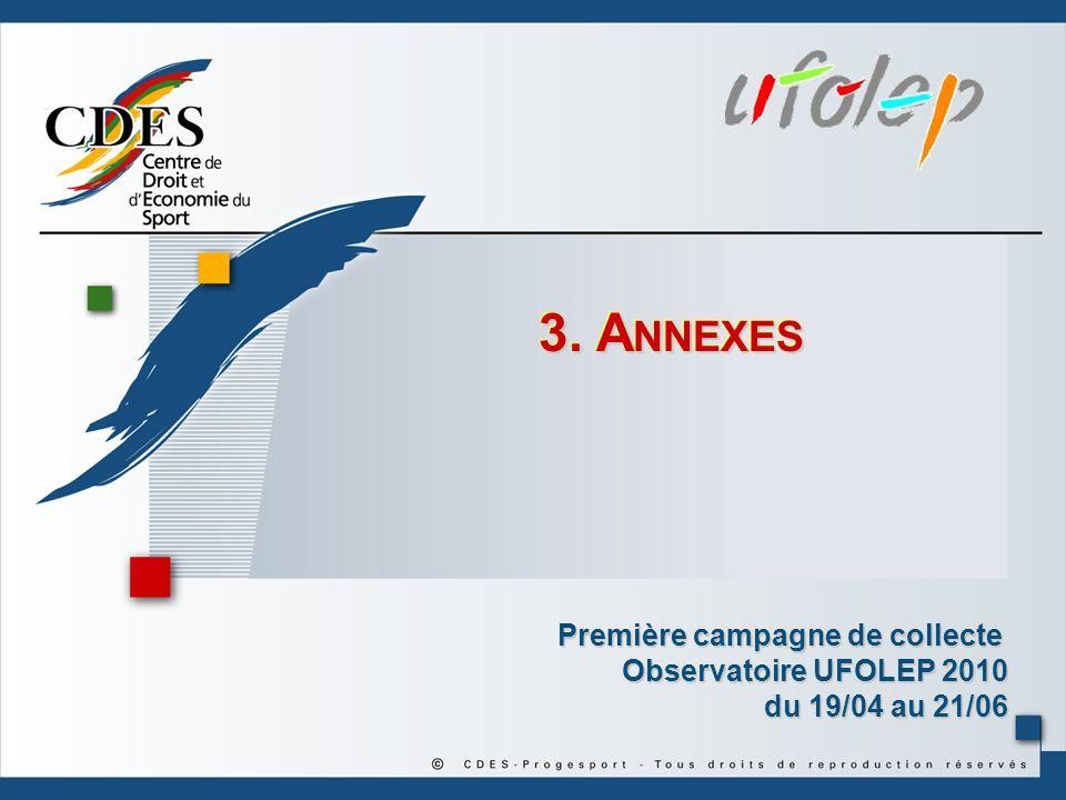 3. Annexes Première campagne de collecte Observatoire UFOLEP 2010