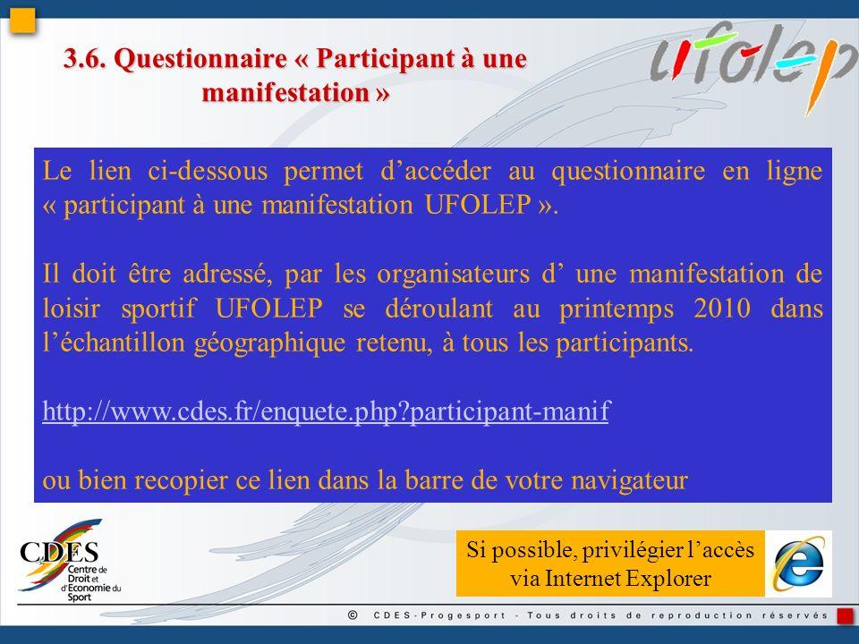 3.6. Questionnaire « Participant à une manifestation »