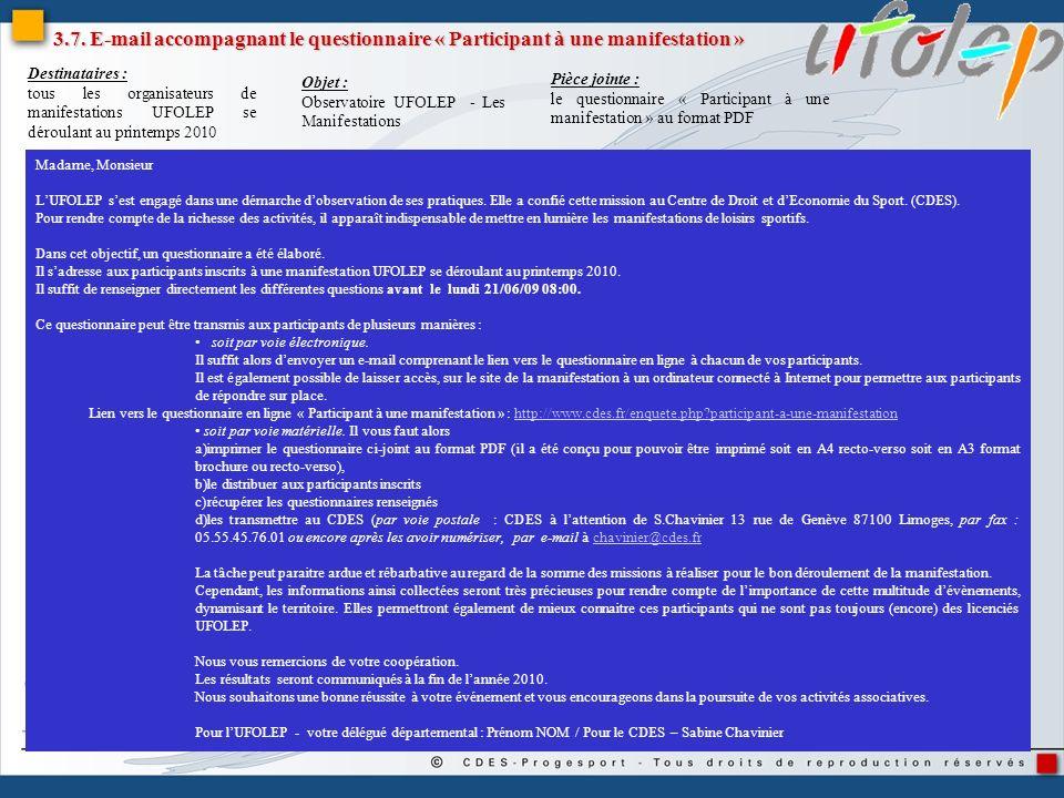 3.7. E-mail accompagnant le questionnaire « Participant à une manifestation »