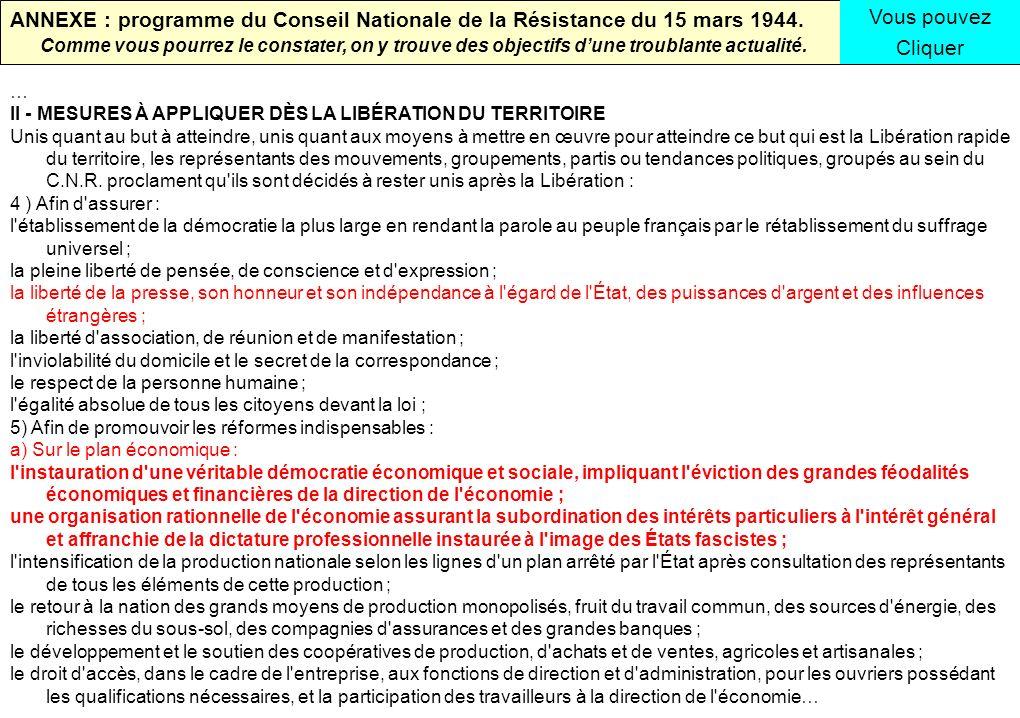 ANNEXE : programme du Conseil Nationale de la Résistance du 15 mars 1944.