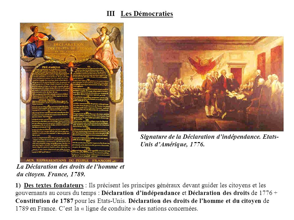 III Les Démocraties La Déclaration des droits de l'homme et du citoyen. France, 1789.