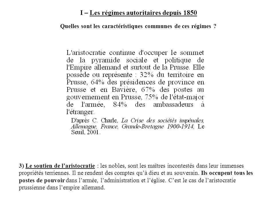 I – Les régimes autoritaires depuis 1850
