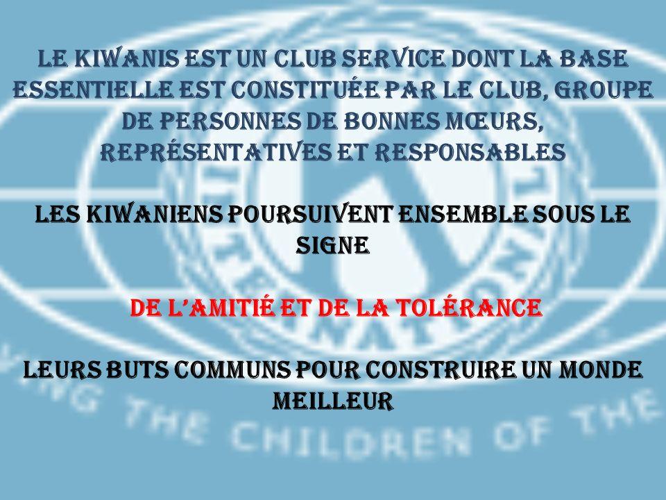 Le KIWANIS est un Club Service dont la base essentielle est constituée par le Club, groupe de personnes de bonnes mœurs, représentatives et responsables Les Kiwaniens poursuivent ensemble sous le signe de l'amitié et de la tolérance leurs buts communs pour construire un monde meilleur