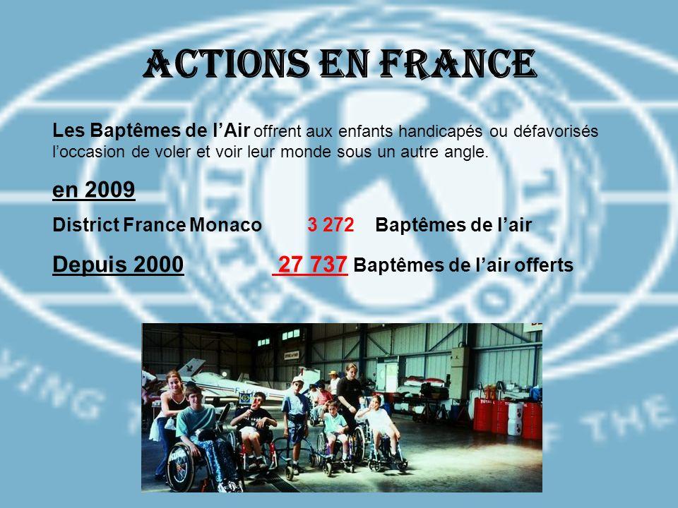 Actions en France en 2009 Depuis 2000 27 737 Baptêmes de l'air offerts