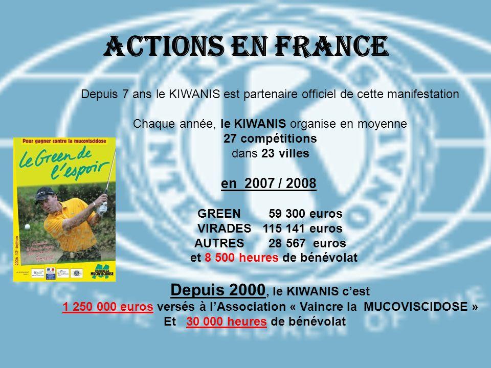 Actions en France Depuis 2000, le KIWANIS c'est en 2007 / 2008