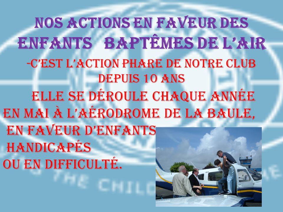 Nos actions en faveur des enfants BAPTÊMES DE L'AIR