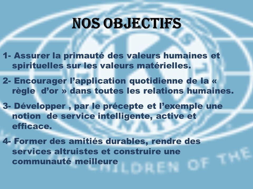 Nos objectifs 1- Assurer la primauté des valeurs humaines et spirituelles sur les valeurs matérielles.