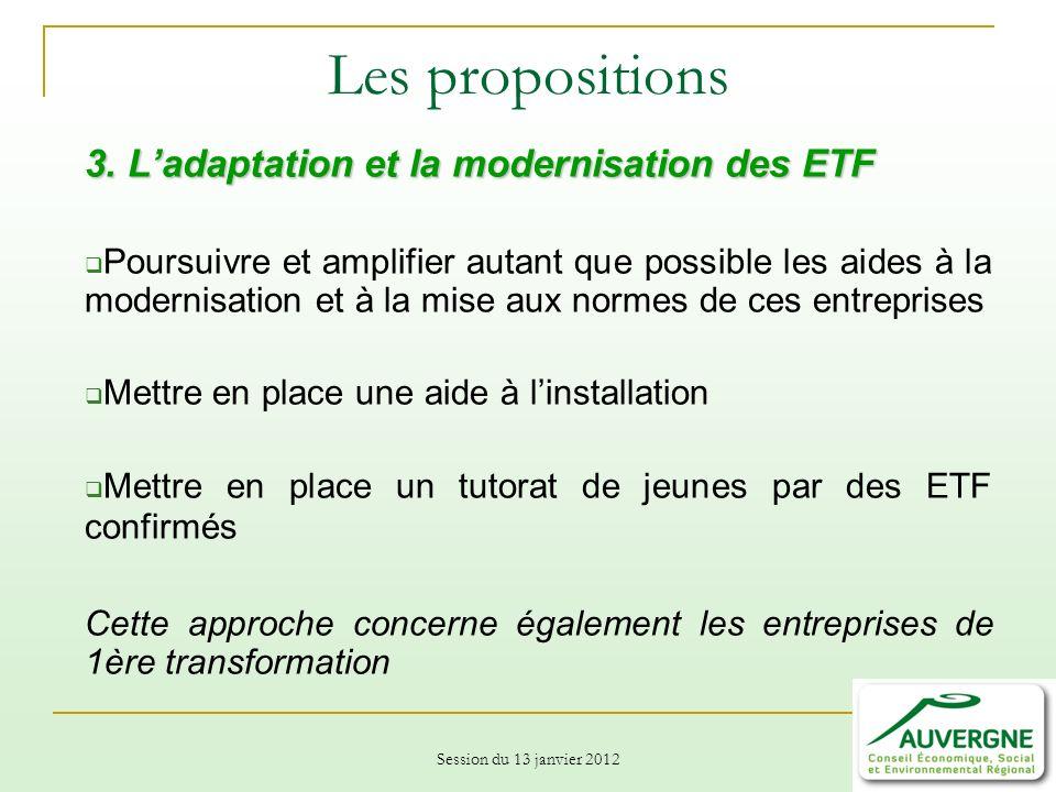 Les propositions 3. L'adaptation et la modernisation des ETF