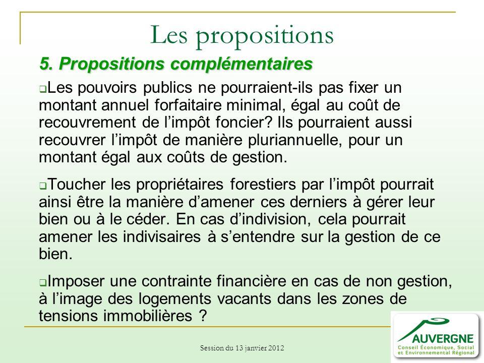 Les propositions 5. Propositions complémentaires