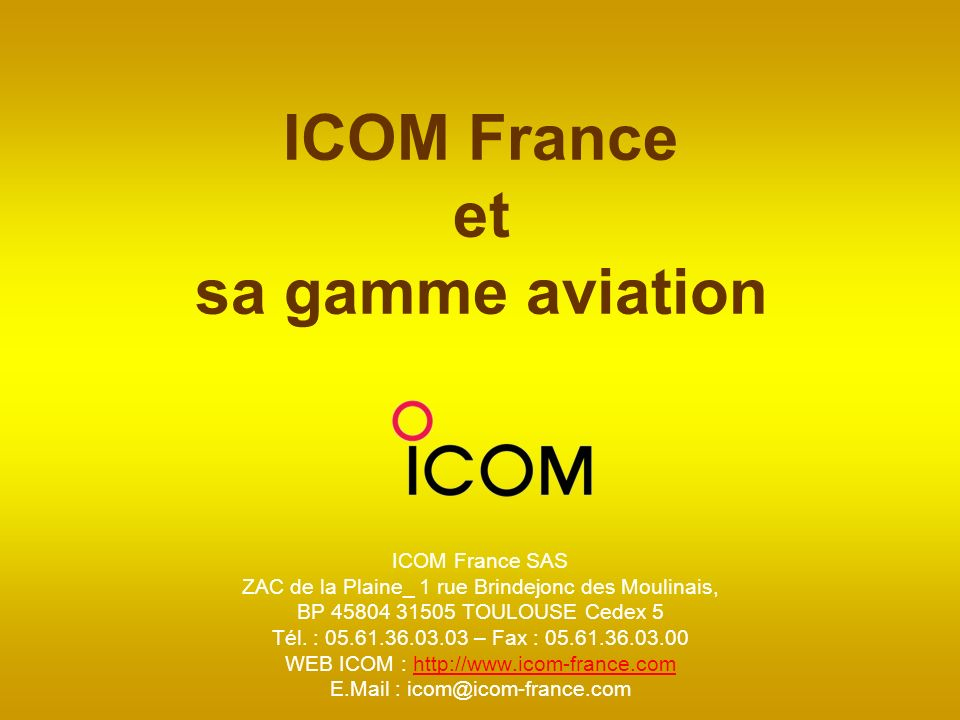 ICOM France et sa gamme aviation