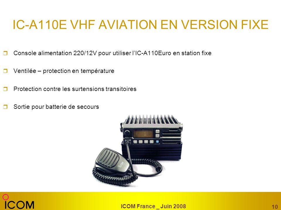 IC-A110E VHF AVIATION EN VERSION FIXE