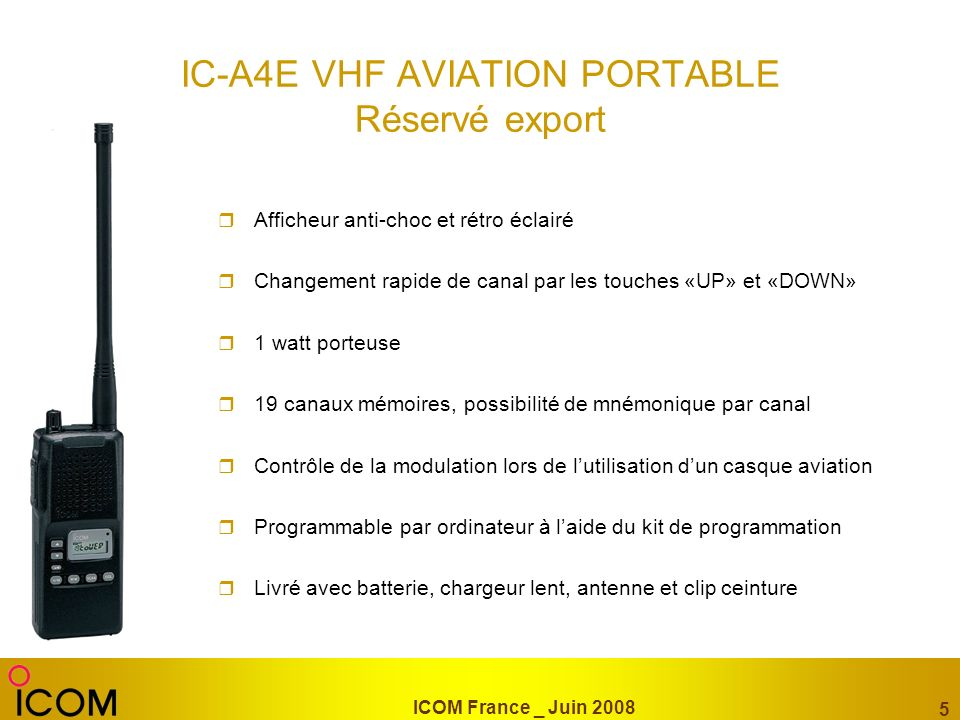 IC-A4E VHF AVIATION PORTABLE Réservé export
