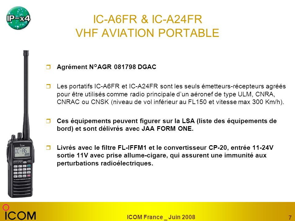 IC-A6FR & IC-A24FR VHF AVIATION PORTABLE